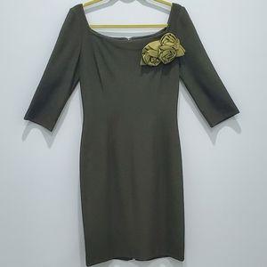 St. John Deep Olive Green Size 6 Dress